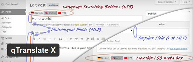 qTranslate X WordPress translation plugin