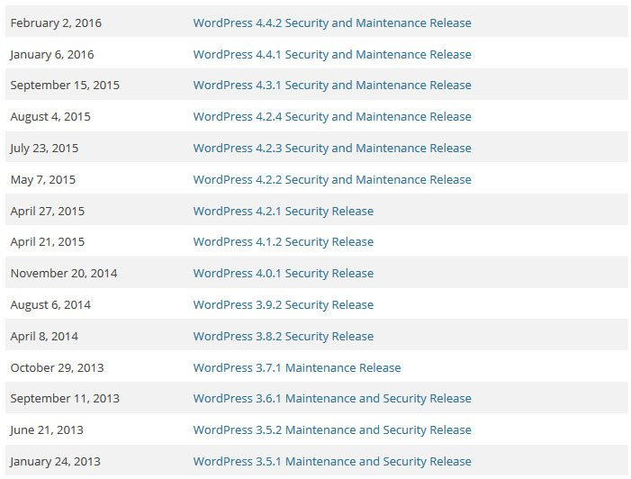 security releases since 2013