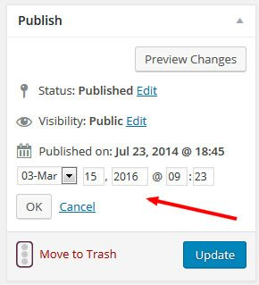 wordpress change post date