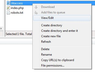 view edit htaccess in filezilla