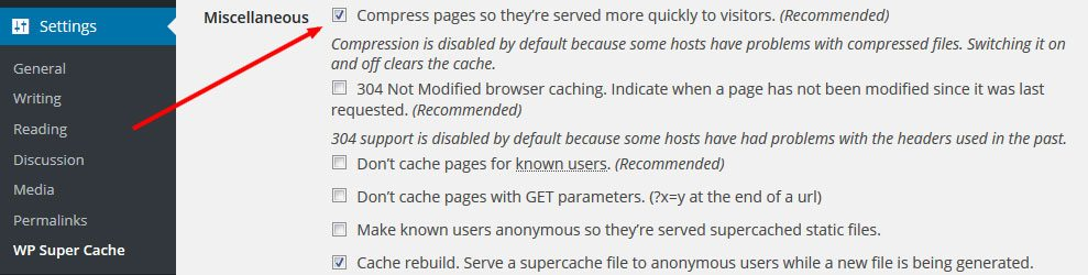 wp super cache wordpress plugin enable gzip compression