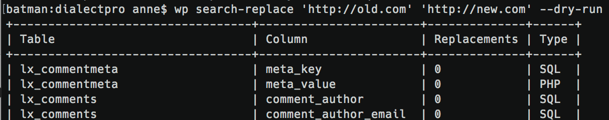 WP-CLI Search-Replace Dry Run