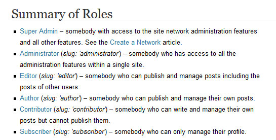 wordpress roles and capabilities