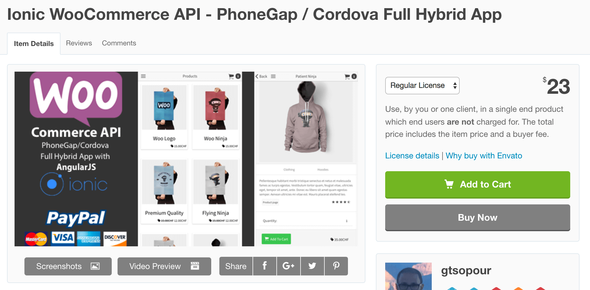 Ionic WooCommerce API on CodeCanyon
