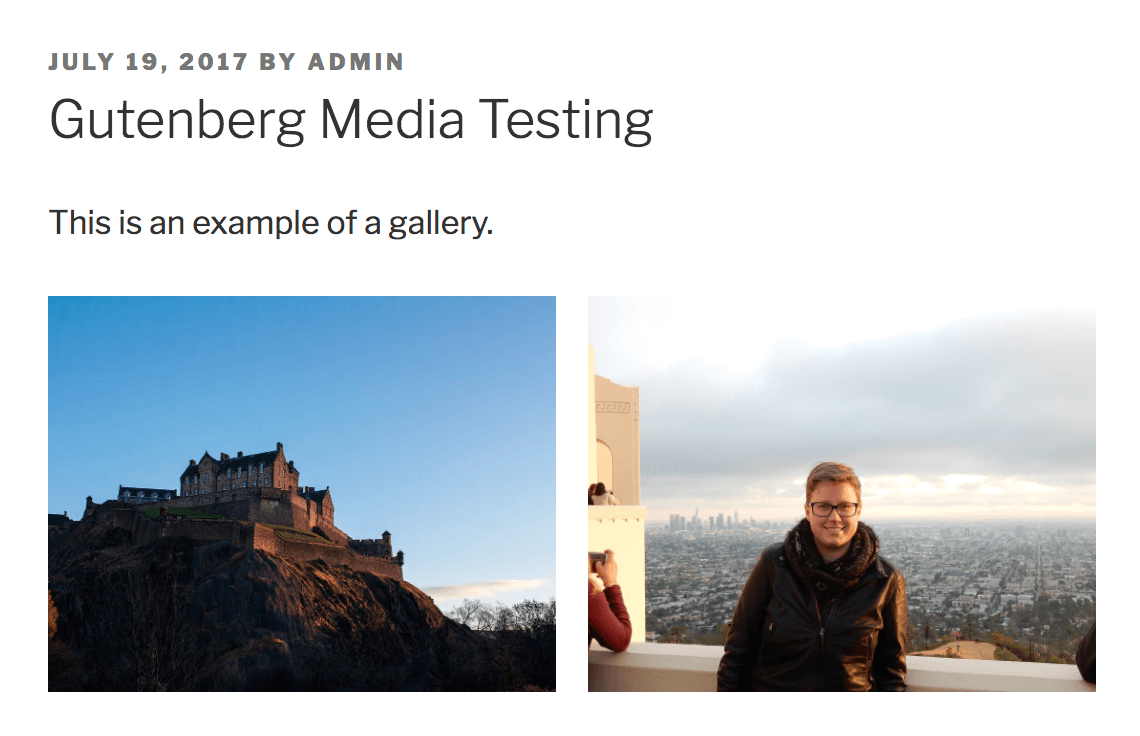 Media gallery output from Gutenberg