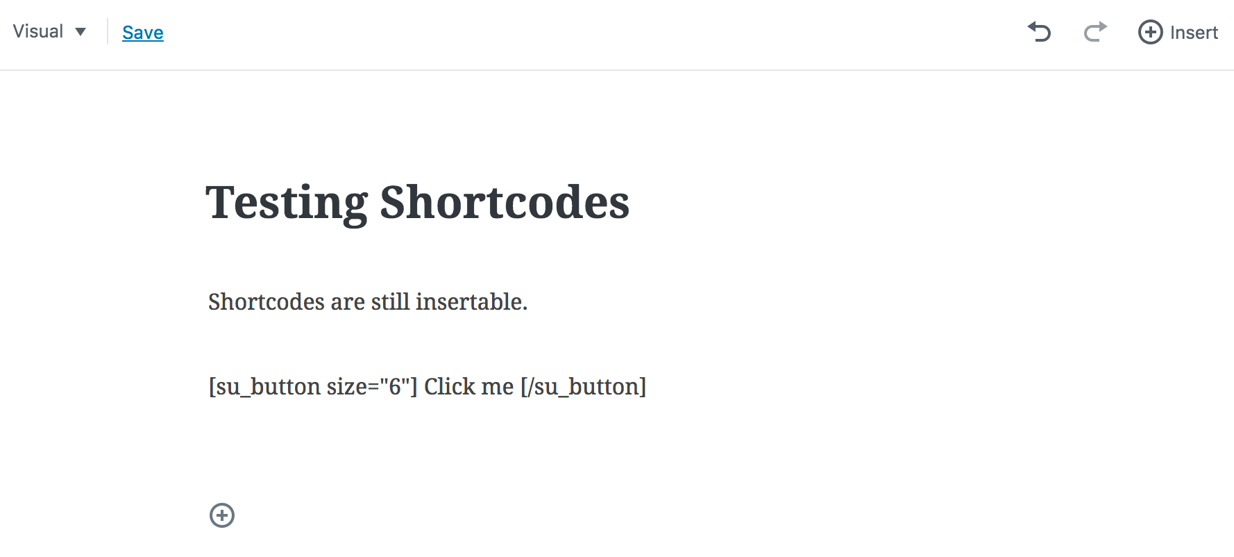Shortcodes in the Gutenberg edito