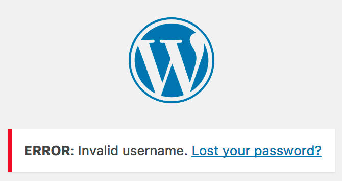 WordPress login error