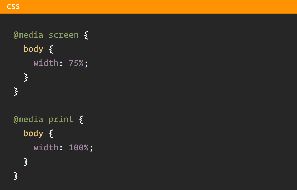 CSS media queries example