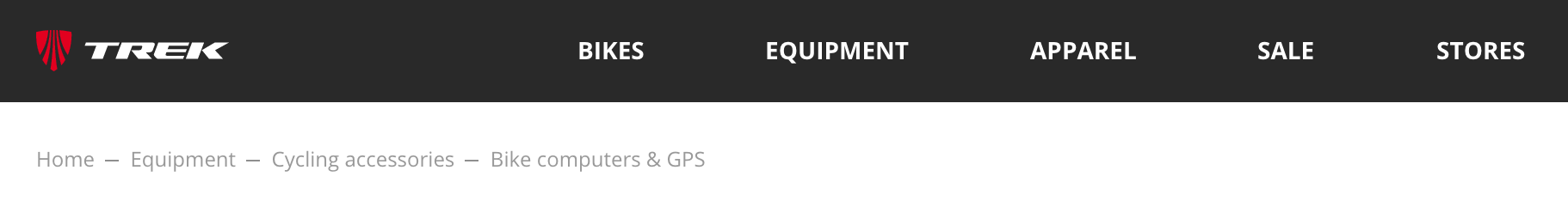 Navigational breadcrumbs on TrekBikes.com