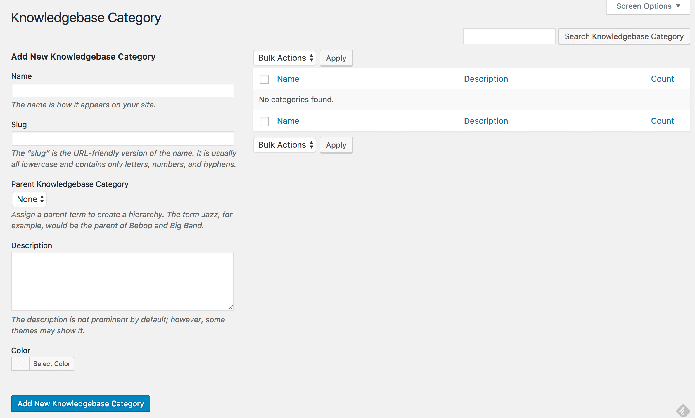 New knowledge base category interface