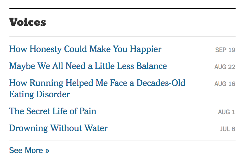 NY Times automatic section menu