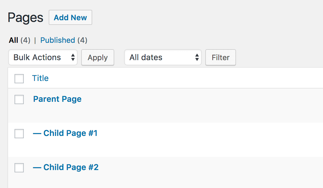 Example of parent page with subpages