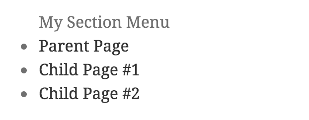Automatic section menu example