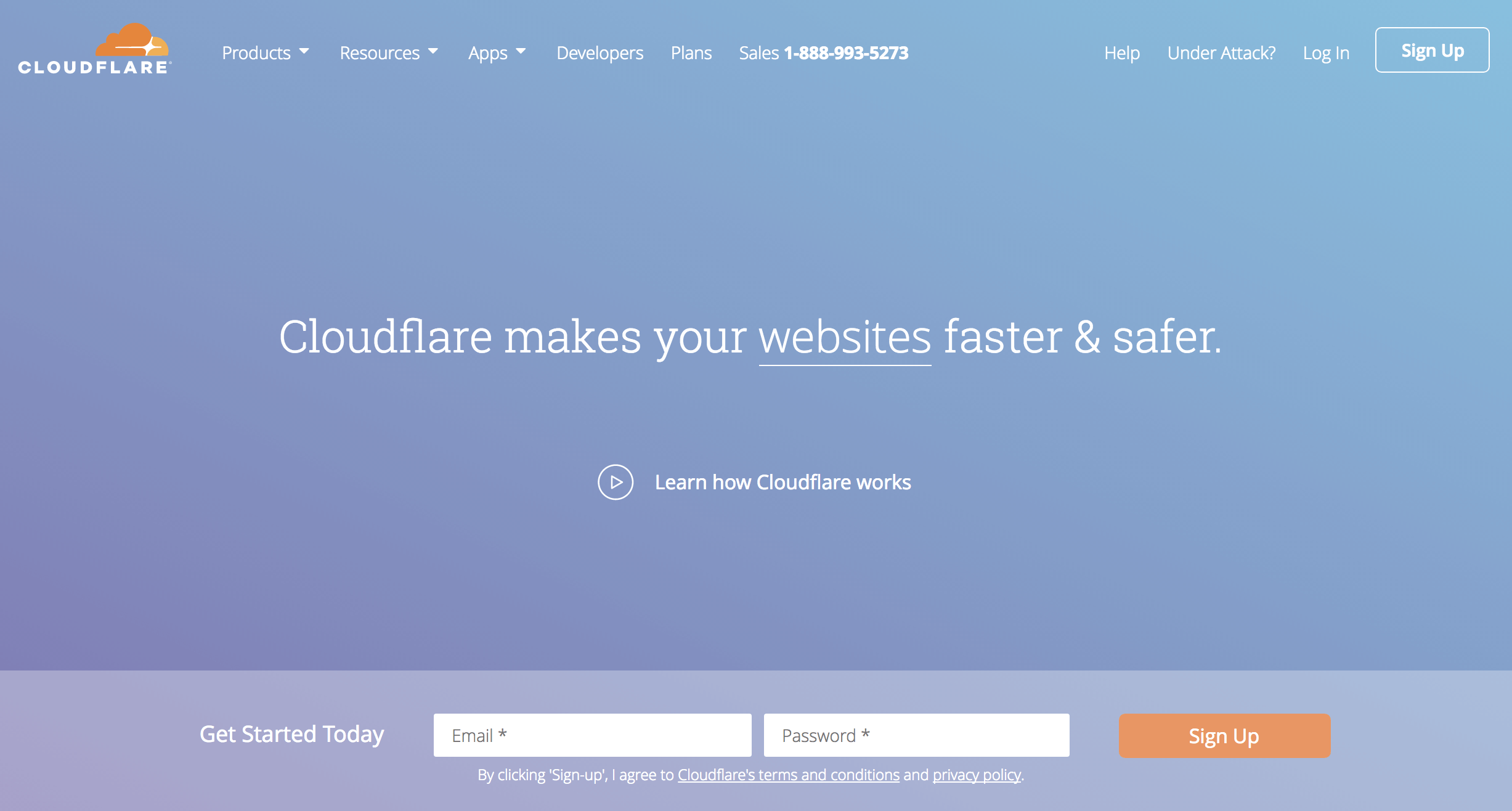 The cloudflare.com home page.