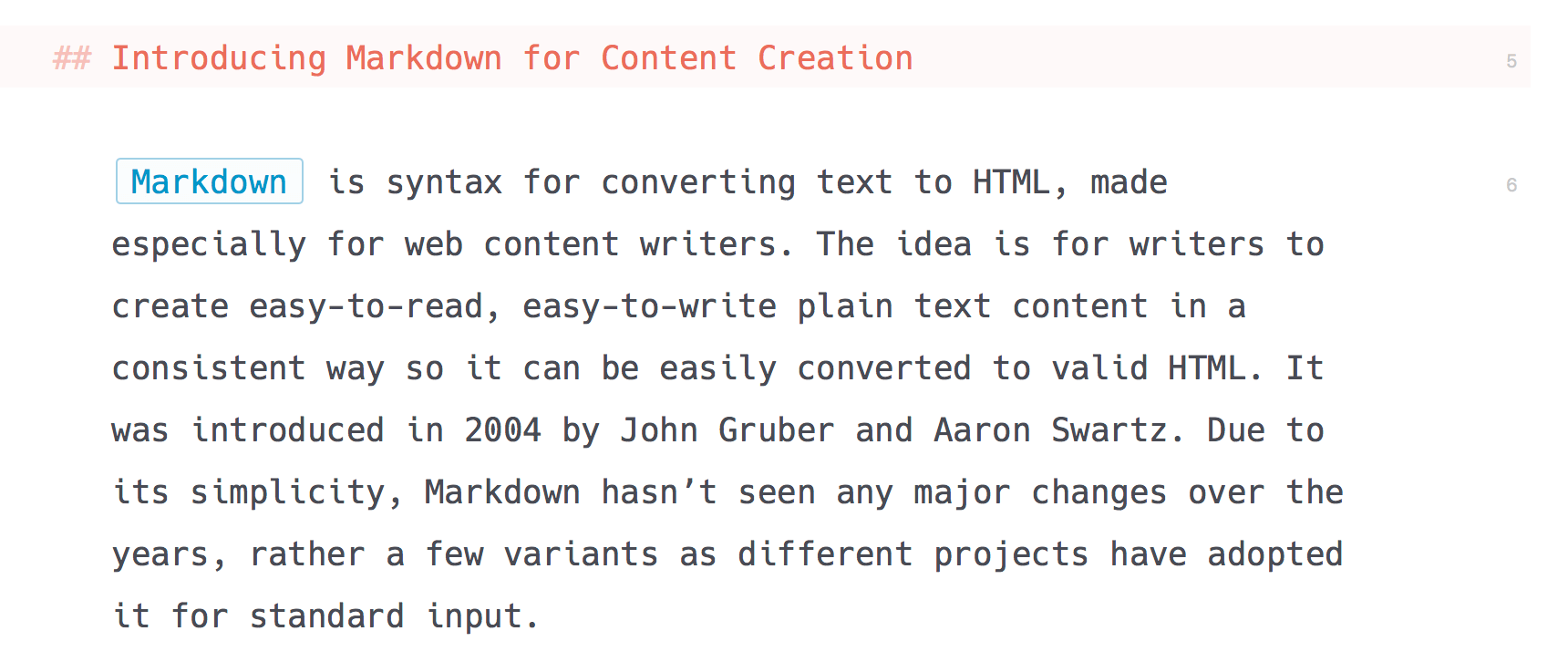 Example of Markdown in editor