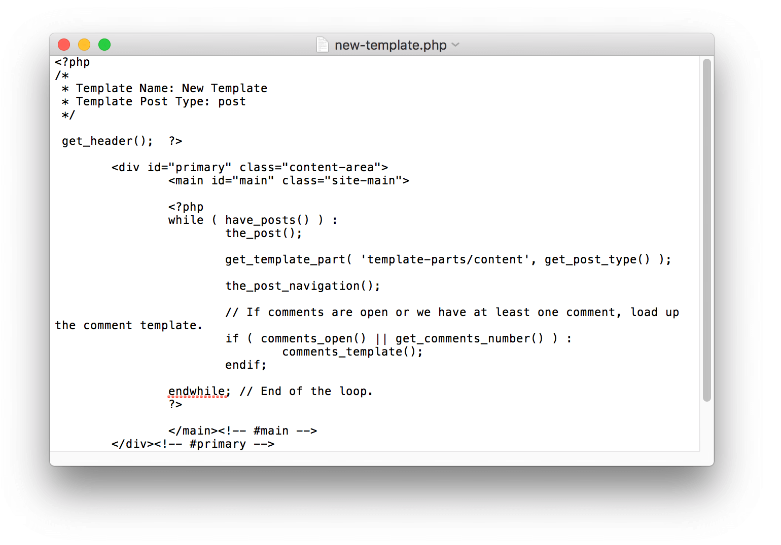 An example of a template file in a text editor.
