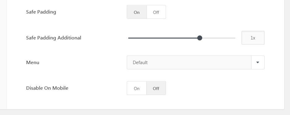 The Uncode Slides Scroll padding settings.
