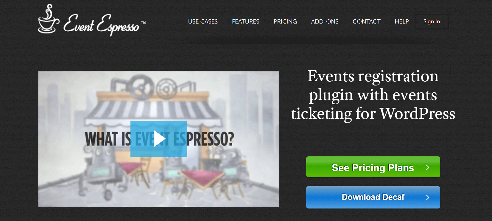 The Event Espresso website.