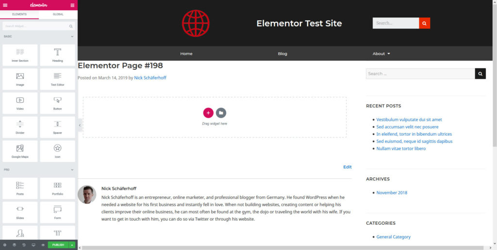 page builder plugin interface example
