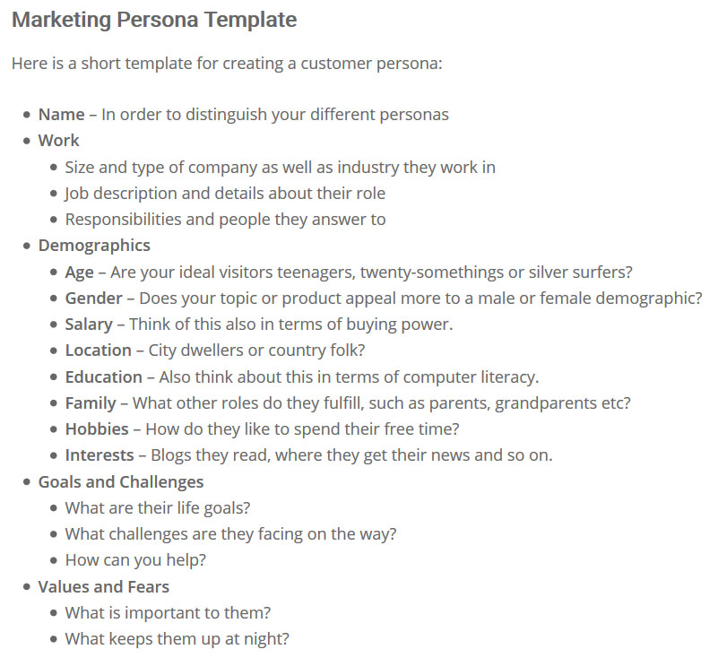 marketing persona template to define target audience for blog style guide