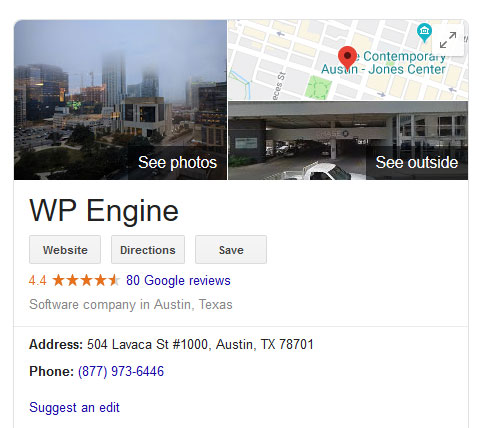google my business listing in search results