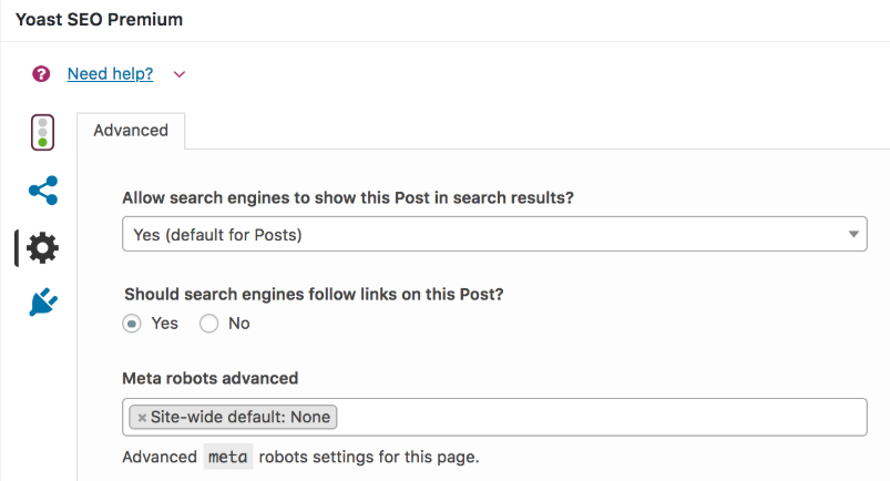Telling search engines not to index a specific page or post.