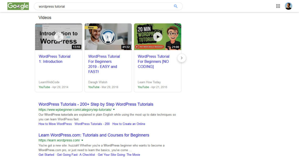 different content types depending on search intent example