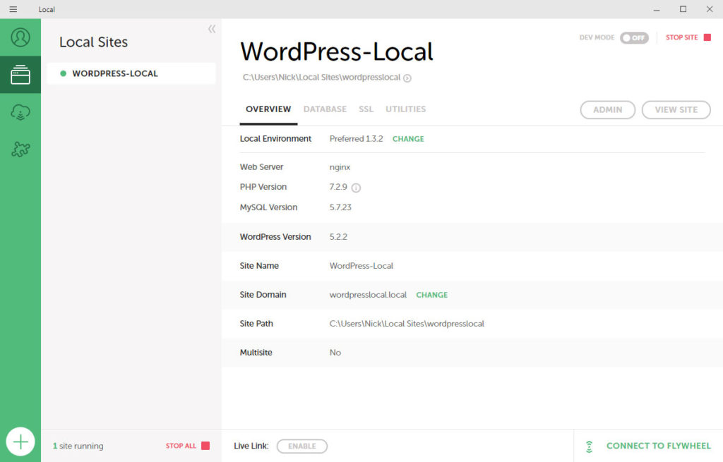 existing sites in local by flywheel