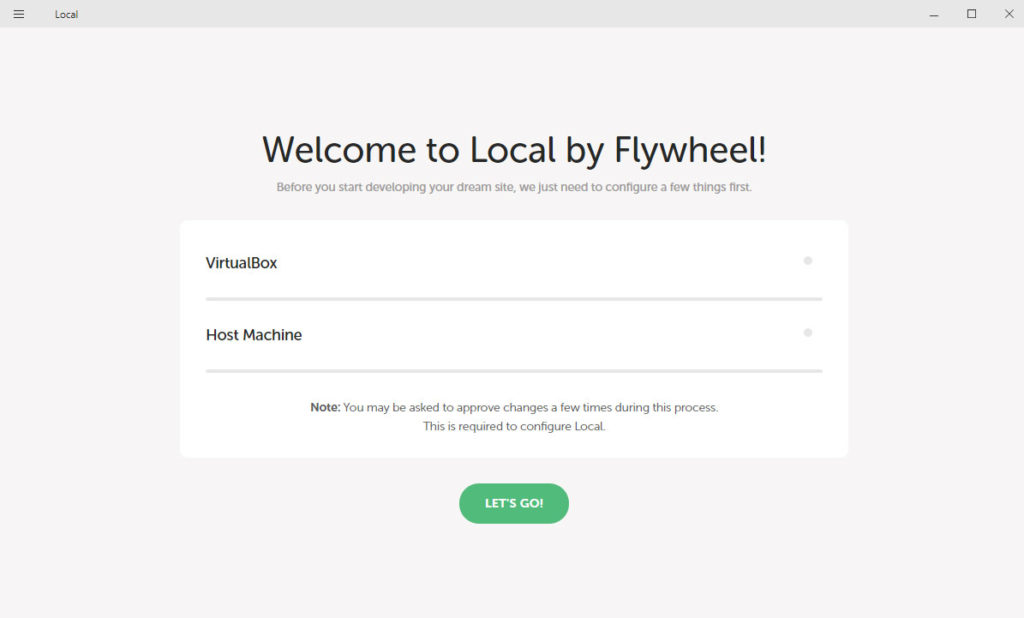 local by flywheel welcome screen