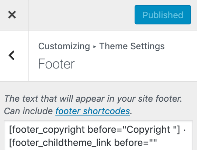 New footer credit settings in Genesis Theme Customizer.