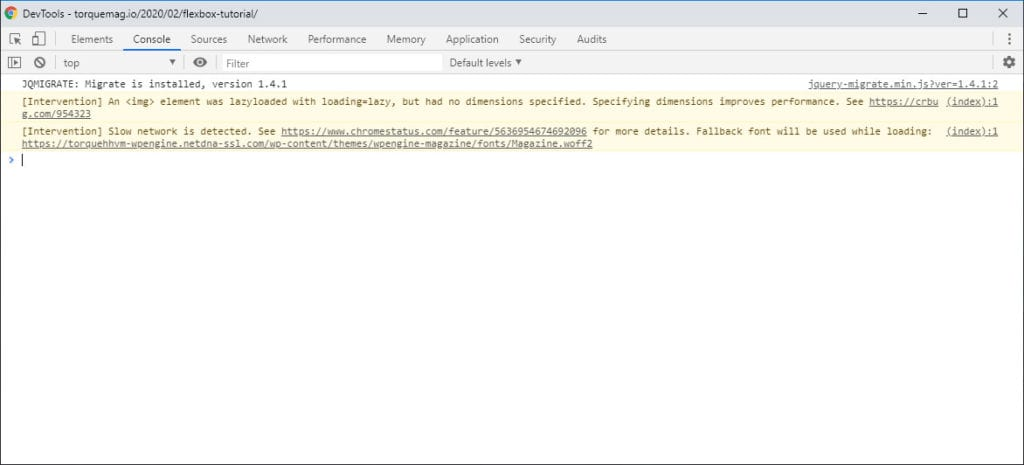 browser developer tools console
