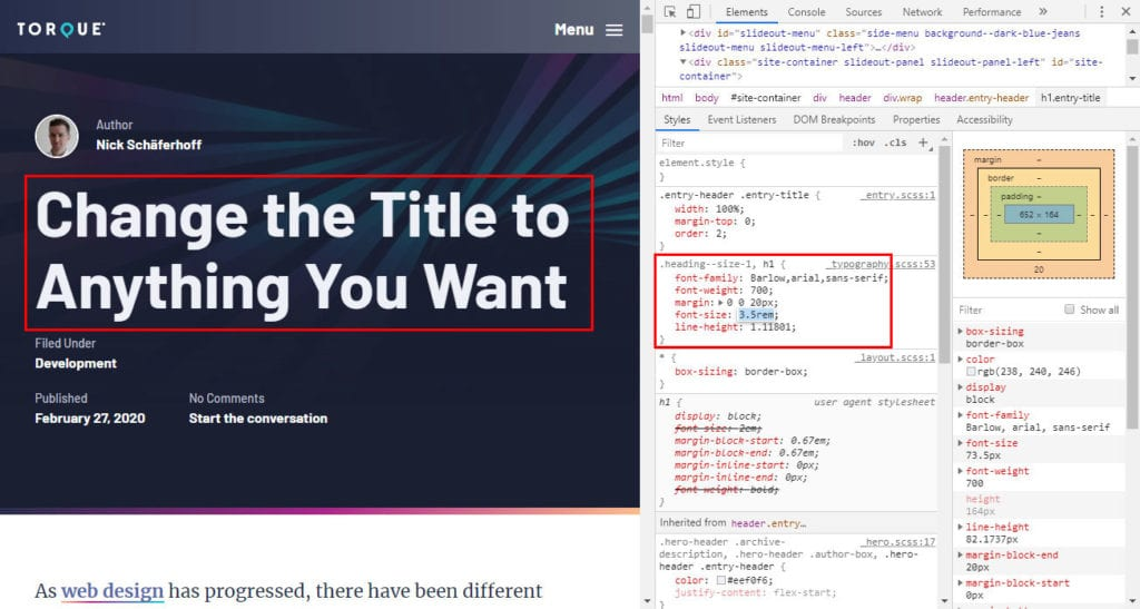 alternate css properties within the developer tools