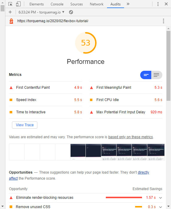 dev tools performance audit outcomes