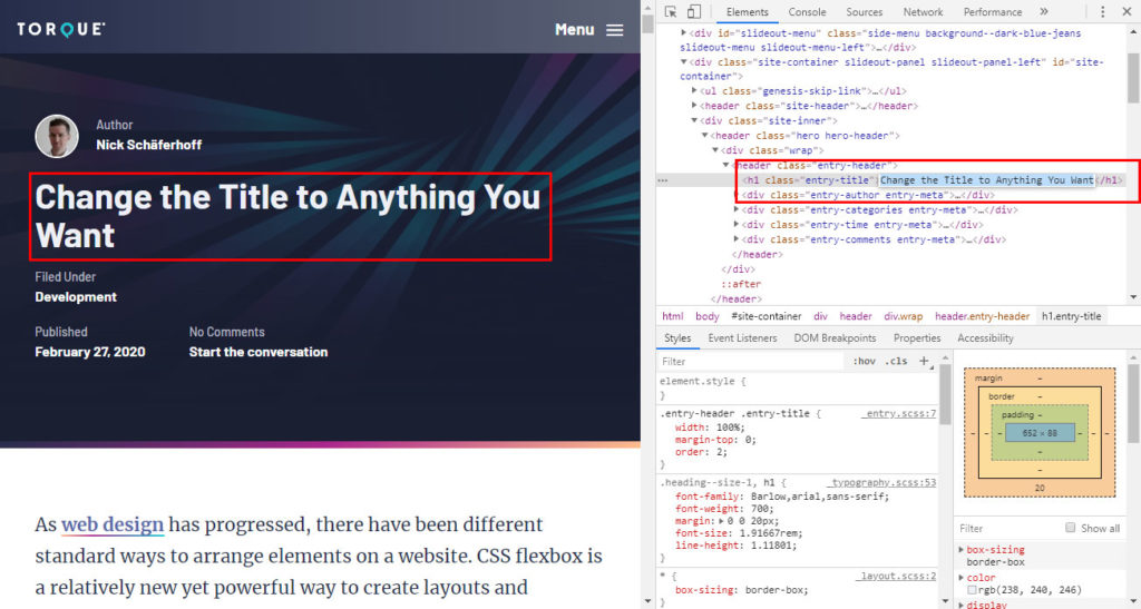 manipulate html by process of browser developer tools