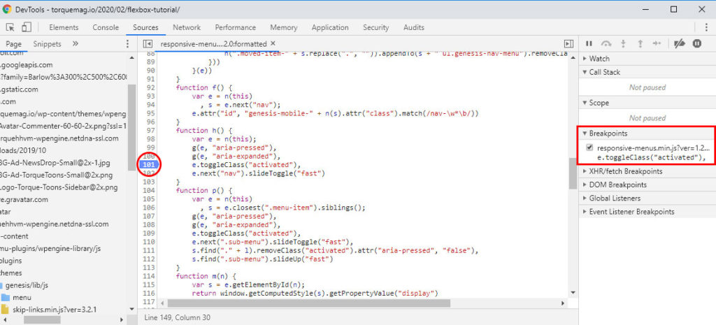 space breakpoints in browser developer tools