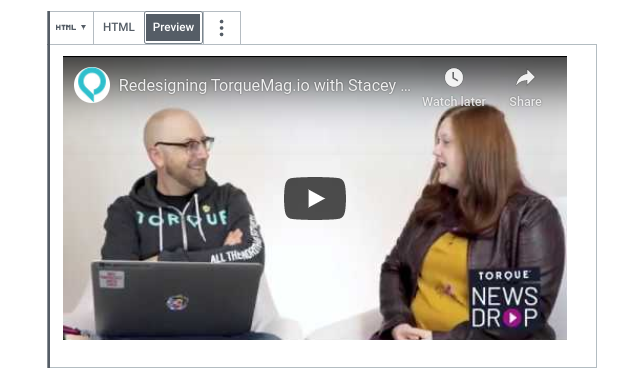 A preview of an embedded YouTube video within the WordPress editor.