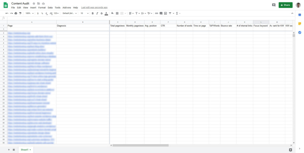 spreadsheet template for internet page pronounce material audit