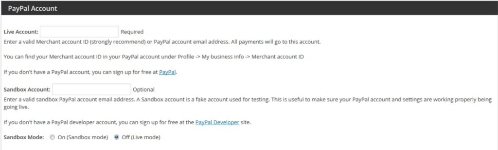 The PayPal Donation plugin settings.