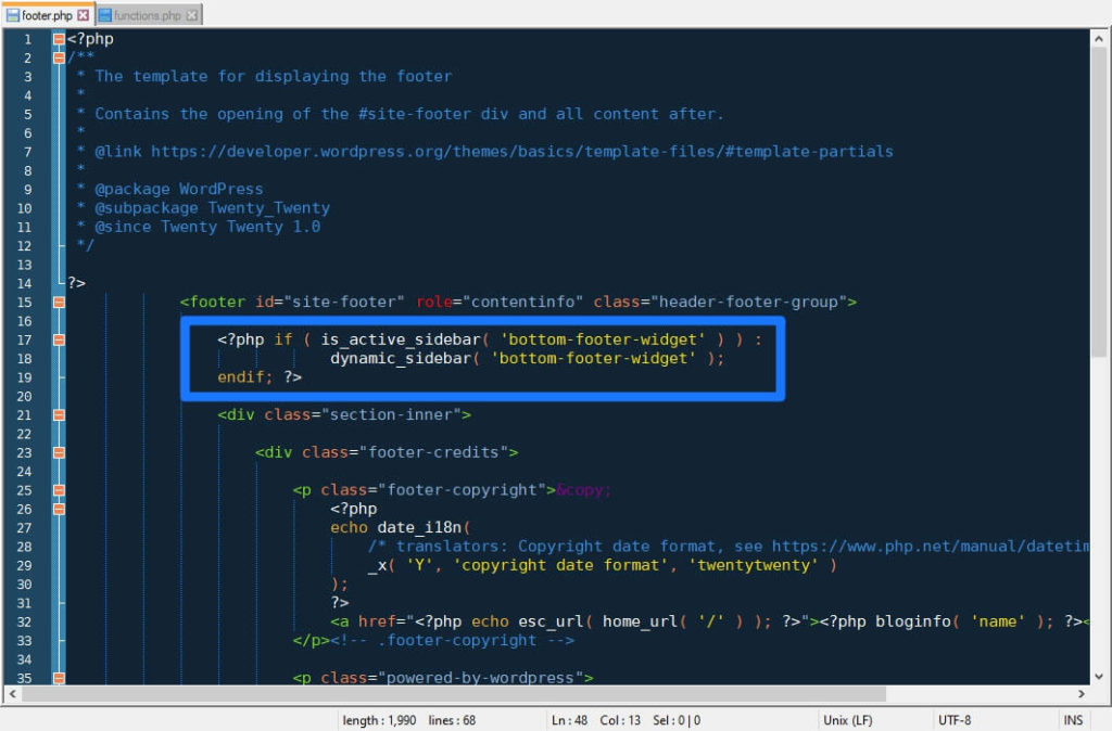 add widget output function to footer php