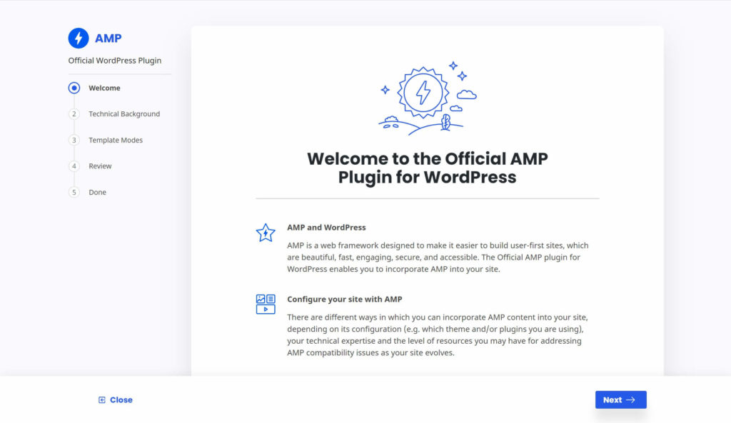The AMP for WordPress onboarding wizard.