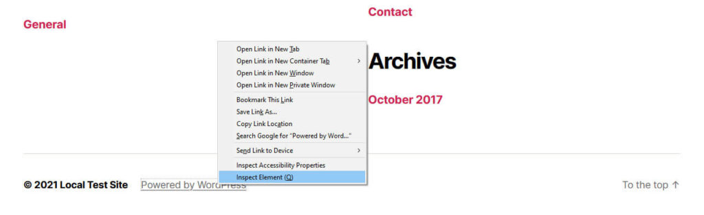 inspect footer elements with browser developer tools